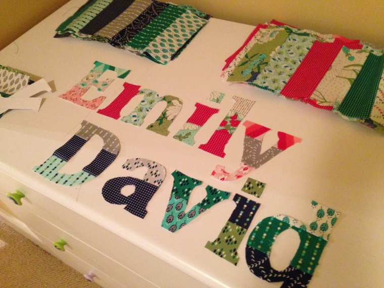 appliqued letters for baby